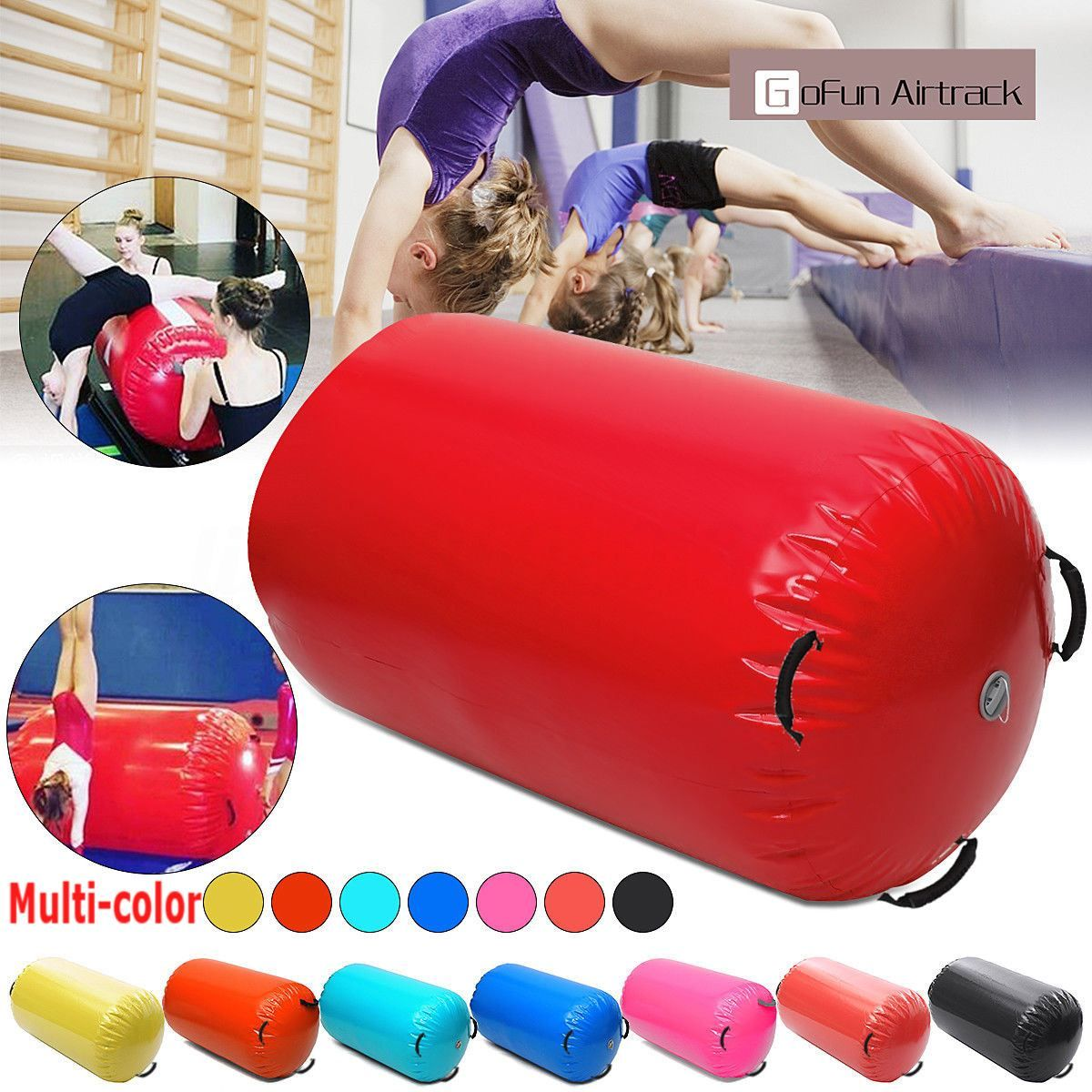 120x60CM Fitness Inflatable Air Roller Home Large Yoga Gymnastics Cylinder GYM Mat Beam HOT