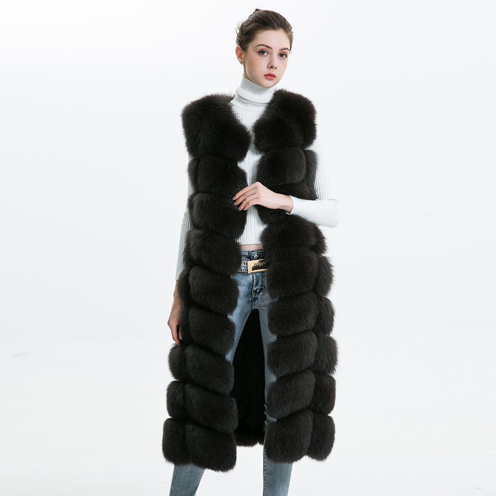 Echt Fuchs Pelz Weste Frauen 110 cm Lange Winter Mantel 2018 Mode Dicke Warme Natürliche Fuchs Pelz Gilet Weibliche Damen echten Pelz Weste