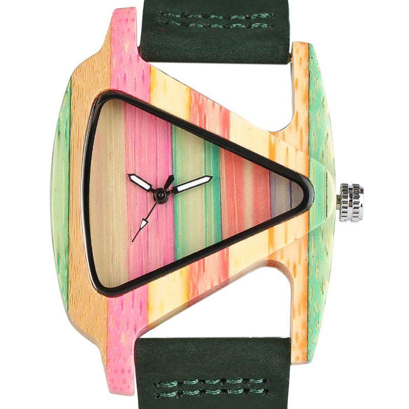 Creative Women Wood Watches Unique Colorful Wooden Triangle Hollow Quartz Wristwatch Ladies Elegant Fashion Genuine Leather Hour