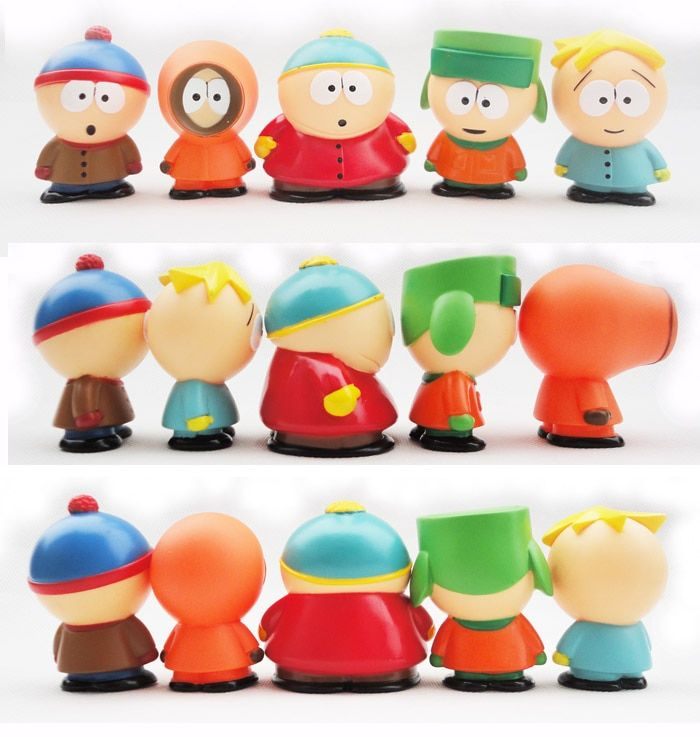 Huong Anime Figure South Park Stan Kyle Eric Kenny Leopard Mini 6cm PVC Action Figure Collectible Model Toy Kids Gifts