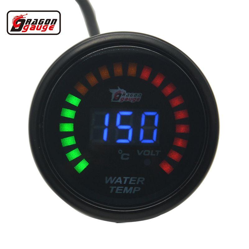 Dragon gauge 52mm display Black Shell water temperature gauge Meter  20-150 Celsius and voltage gauge  Water temp volt meter
