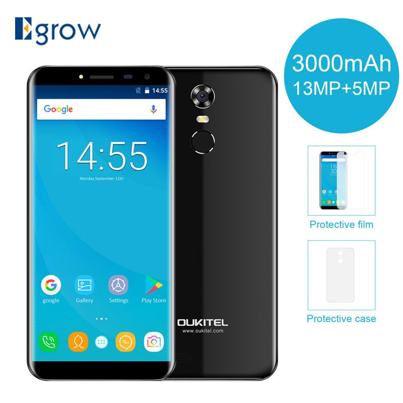 Original <font><b>Oukitel</b></font> C8 5.5Inch 18:9 Display Smartphone Android 7.0 3000mAh 2GB RAM 16GB MT6580 Quad Core Fingerprint 13MP Cellphone