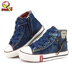 2018 zapatos de los niños de la lona zapatillas de deporte respirables de los muchachos marca niños zapatos para niñas jeans Denim casual botas planas del niño 25 -37