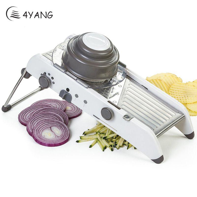 4YANG Vegetable Cutter Kitchen Tools Adjustable Mandoline Slicer Professional Grater with 304 Stainless Steel Blades