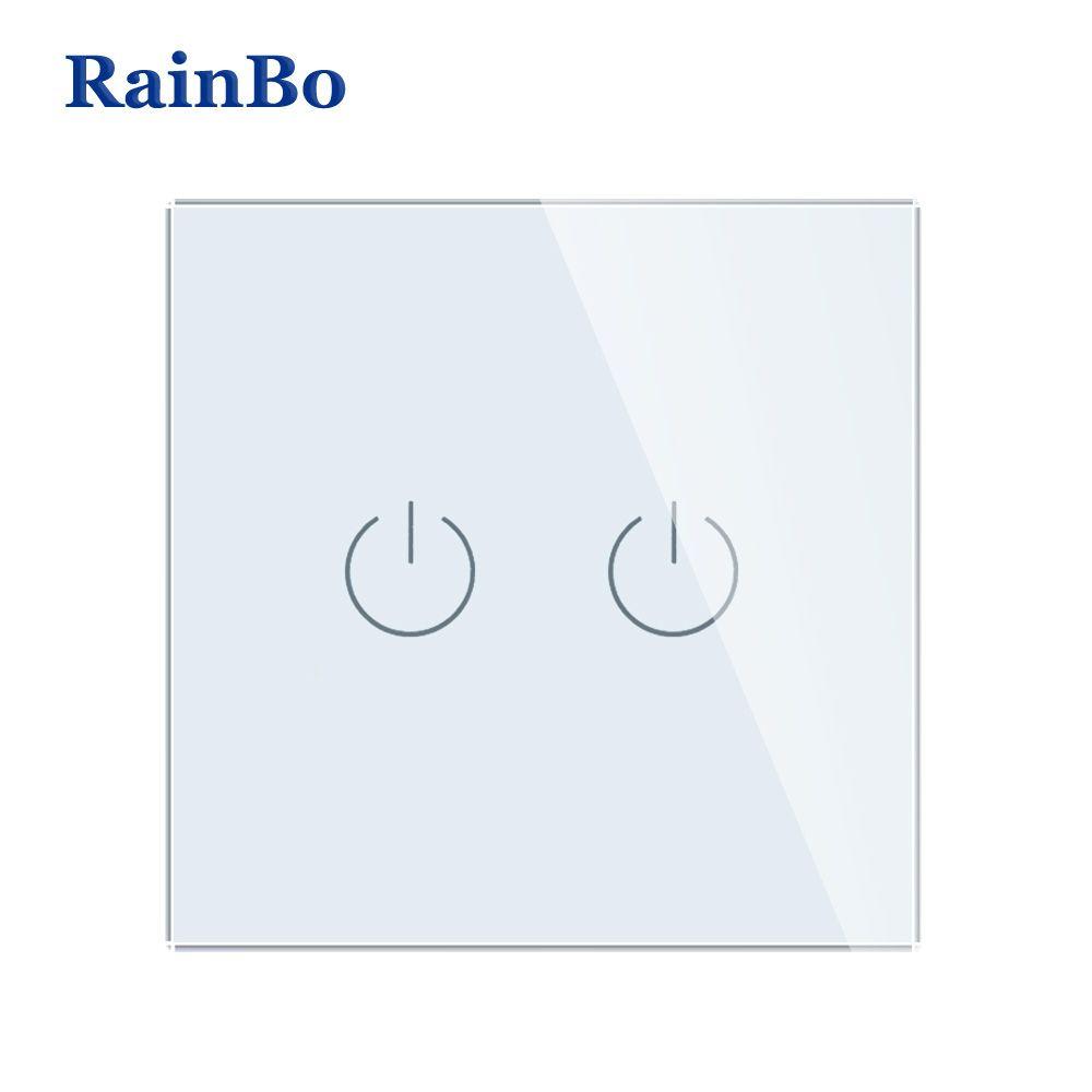 RainBo New-verre cristal-panneau mural-interrupteur EU-Standard 110 ~ 250V tactile-commutateur-écran mural-lumière-interrupteur 2gang-1way A1921W/B