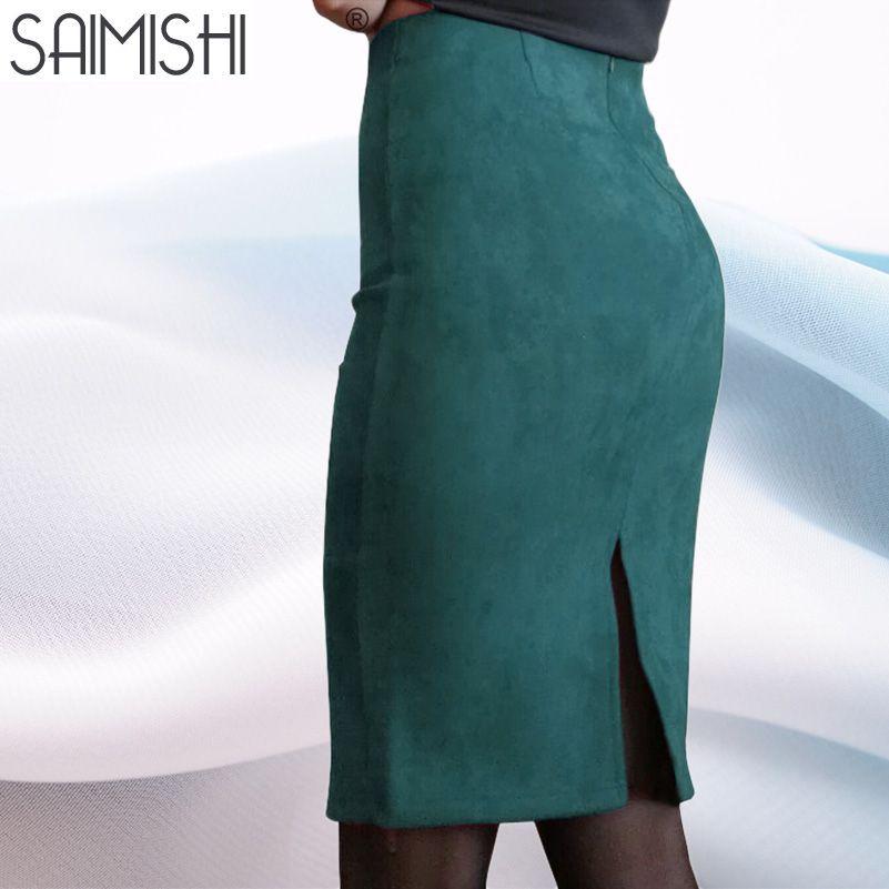 Sainishi Super offres femmes daim couleur unie jupe crayon femme printemps automne basique taille haute moulante Split genou longueur jupes