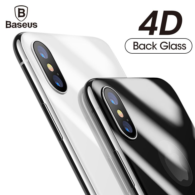 Baseus 4D Back Screen Protector Tempered Glass For iPhone X 10 Full Body Cover Protection Rear Toughened Glass Film For iPhoneX