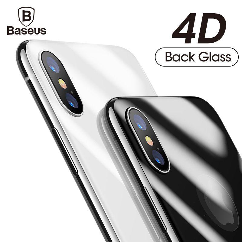 Baseus 4D Retour Écran Protecteur En Verre Trempé Pour iPhone X 10 Full Body Couverture Protection Arrière Trempé Verre Film Pour iPhoneX