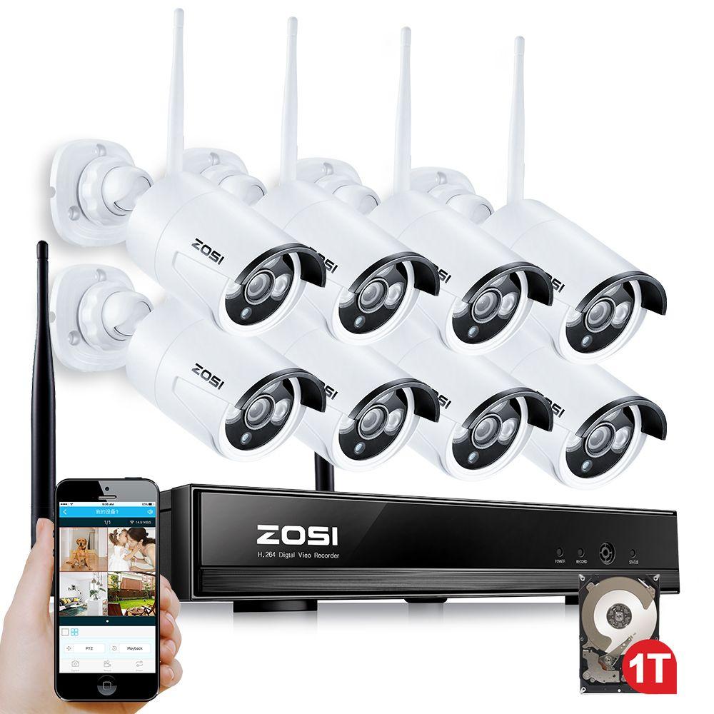 ZOSI 1TB HDD 8CH CCTV System Wireless 960P Powerful Wireless NVR WIFI IP Camera CCTV Home Security System Surveillance Kits