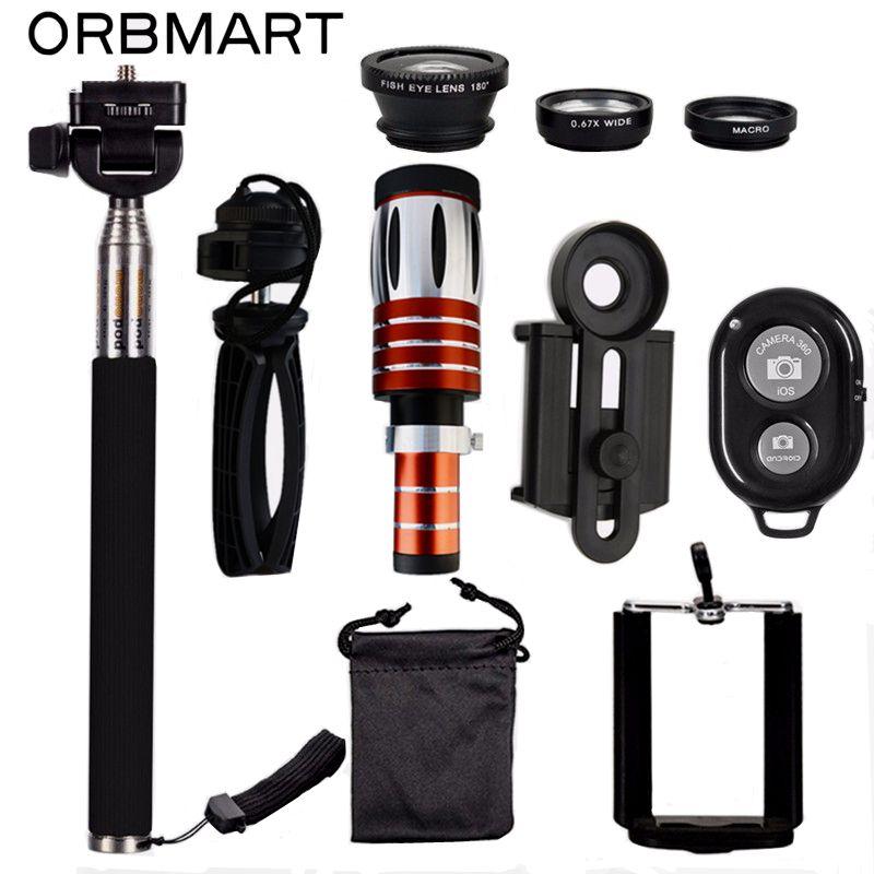 ORBMART 50X Telescope + 3 in 1 Fish Eye Lens + Extendable Handheld Selfie Stick + Bluetooth Shutter Lense Kit For Smartphone