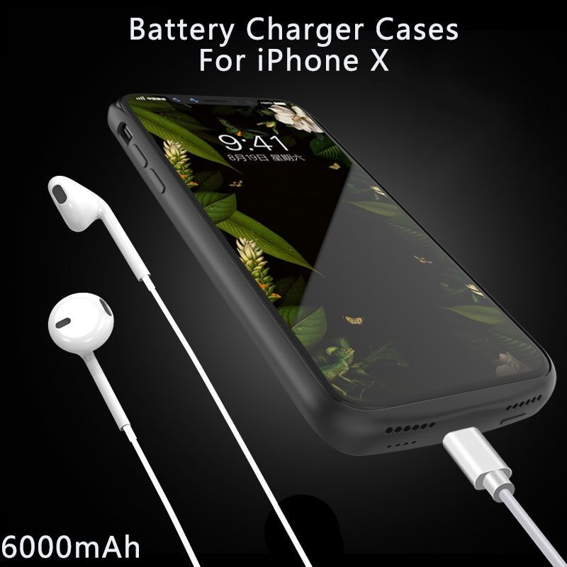 UVR For iphone X Battery Case 6000mAh real capacity led battery indicator soft shell Anti-fall protection 5V/1.8A audio output