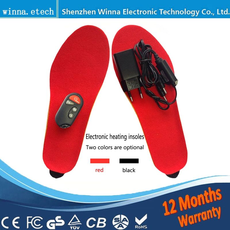 NEW Electric Heated Insole Winter Shoes Boots Pad With Remote Control black RED Foam Material EUR Size 35-46# <font><b>1800MAH</b></font>
