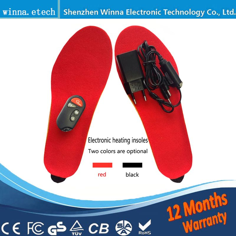 NEW Electric Heated Insole Winter Shoes Boots <font><b>Pad</b></font> With Remote Control black RED Foam Material EUR Size 35-46# 1800MAH