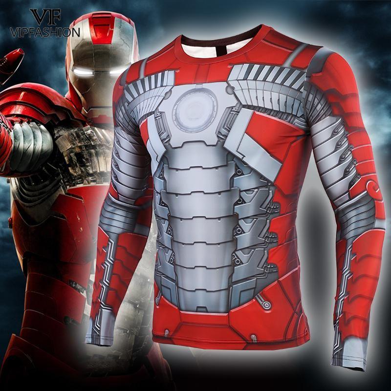 VIP FASHION Avengers MK5 Iron Man 3D Printed T shirts Men Captain American Gym Compression Shirt Cosplay Costume Long Sleeve