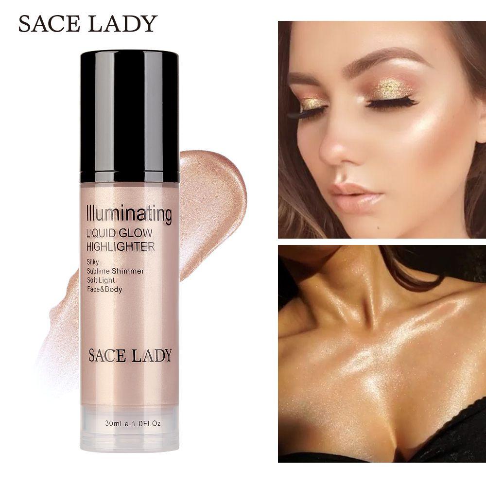 SACE DAME Illuminateur surligneur pour maquillage crème pour le visage et Corps Shimmer Make Up Liquide Égayer Lueur Professionnelle Kit Cosmétique
