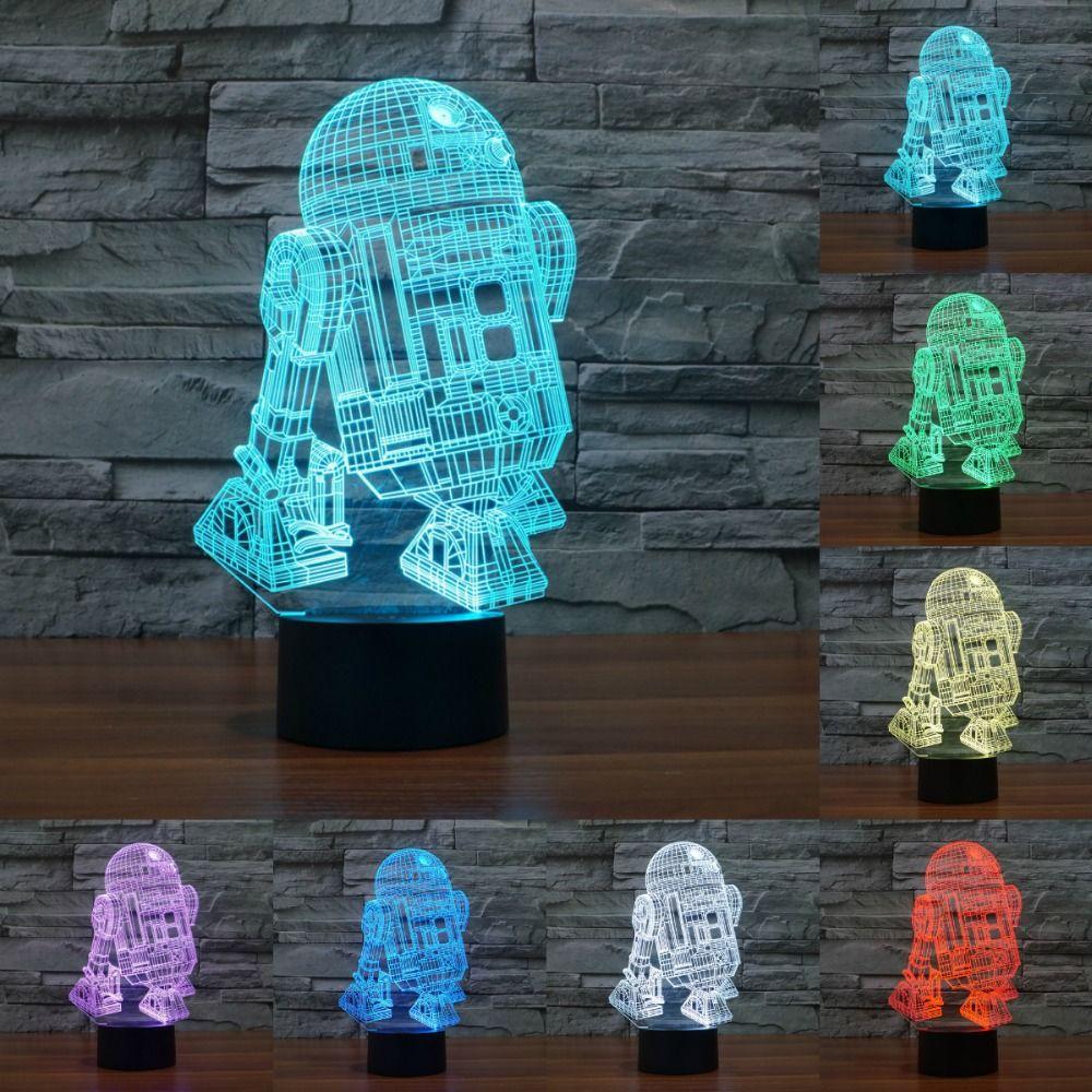 7 Изменение цвета ночник Звездные войны R2 Робот 3D Свет Робот Светодиодная настольная лампа сенсорный выключатель стол свет для дети iy803315