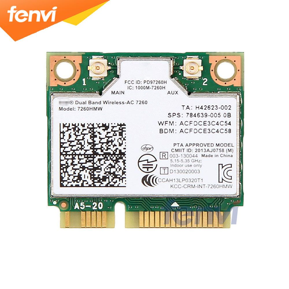 Dual Band Wireless Wifi Card For Intel AC7260 7260HMW ac Mini PCI-E 2.4G/5Ghz Wlan Bluetooth 4.0 Wifi Card 802.11 ac/a/b/g/n