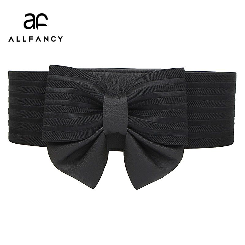 Mme arc super large ceinture boucle tout-allumette simple élastique ceinture robe accessoires ceinture Coréenne ceinture