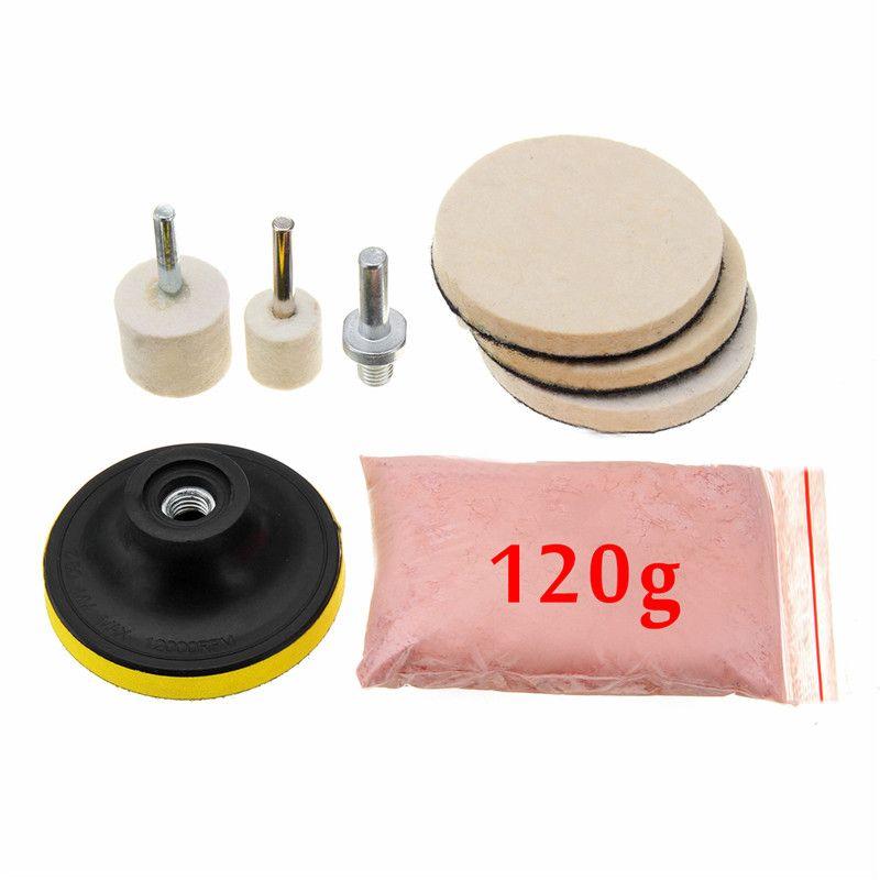 8 pièces 120g Kit de poudre de polissage de verre d'oxyde de cérium pour le dissolvant de rayures profondes pour les vitres de pare-brise