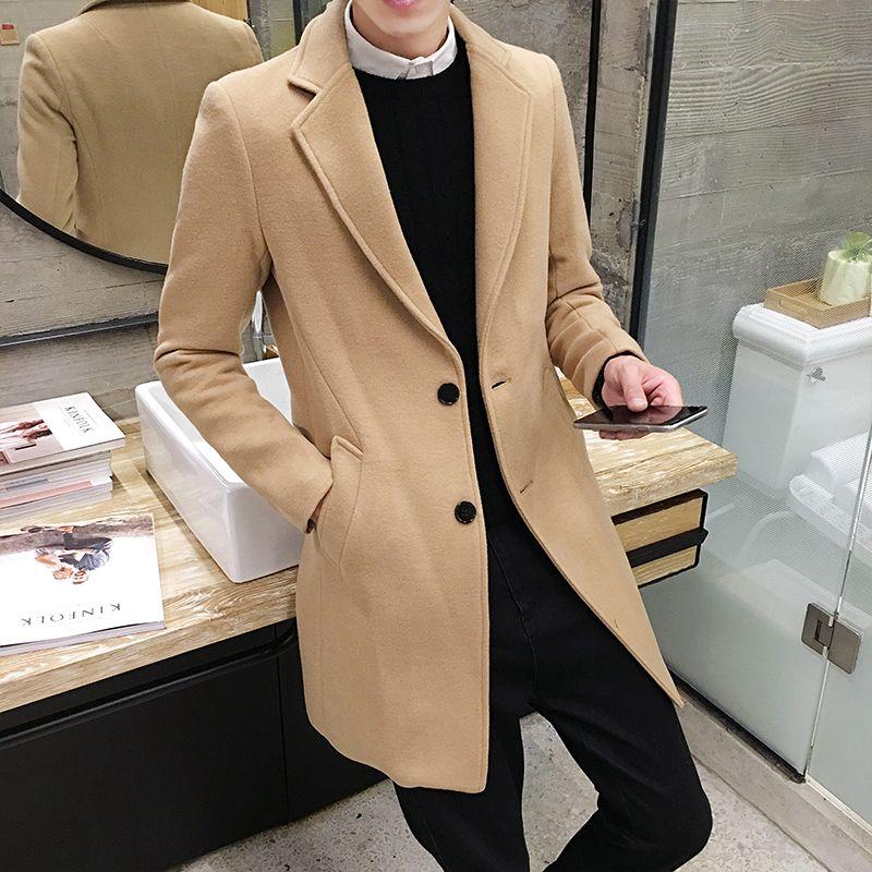 2017 hiver hommes en Long manteau mince manteau de laine, angleterre Style Gentleman marée sauvage hommes manteaux, cadeau de noël réfléchi