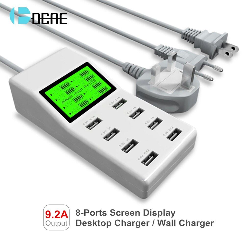 DCAE Quick Charge 3.0 Fast USB Charger for Samsung Galaxy S8 Xiaomi redmi 4x iPhone Universal 8 Port Desktop Phone Charger