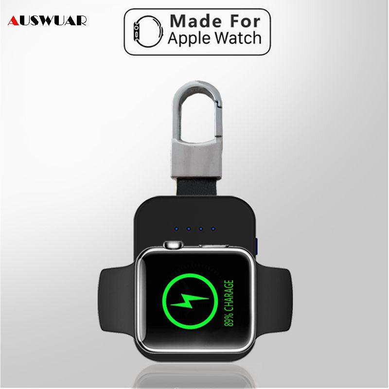 QI chargeur sans fil batterie externe pour iWatch 1 2 3 4 Portable Mini batterie externe Pack porte-clés pour Apple Watch chargeur sans fil