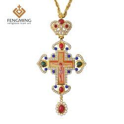 Pectoral Cross Ortodoks Yesus Salib Liontin Berlapis Emas Rantai Manik Perhiasan Agama Pastor Kerajinan Persediaan