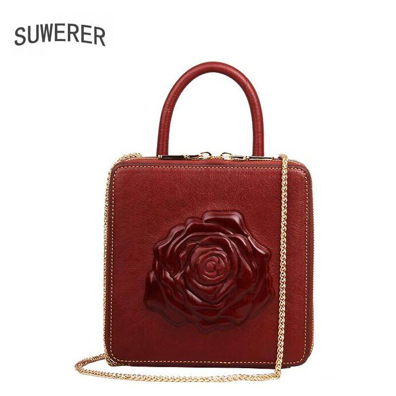 Genuine Leather women bags three-dimensional embossed luxury Chains handbags women bags designer handbags women famous brands