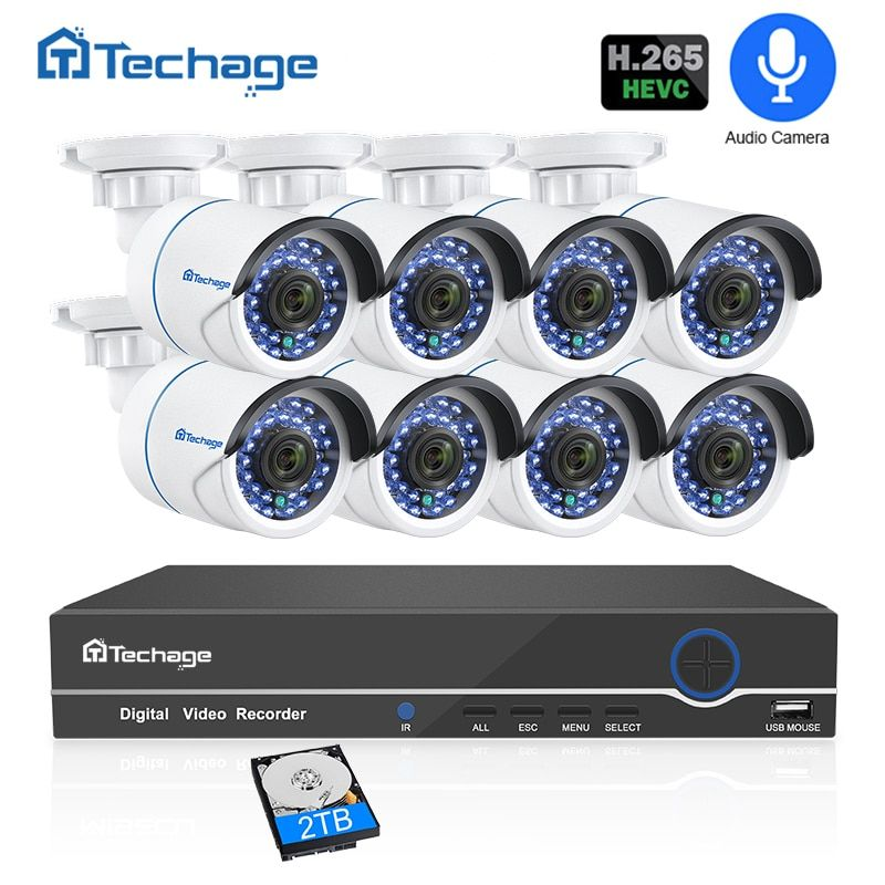 H.265 8CH 1080P POE NVR CCTV Security System Audio Record 2MP Outdoor Waterproof IP Camera IR Night P2P Video Surveillance Kit
