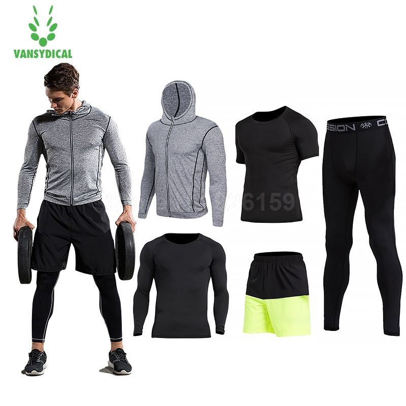 2018 Vansydical Mens Sport Suit Running Suits 5pcs Men Gym Clothing Workout Sports Suits Basketball Jersey Training Tracksuits
