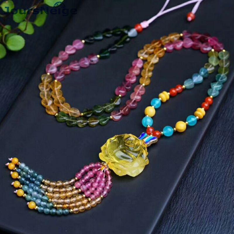 Beauty Natural Tourmaline Crystal Necklace Fine Stone Beads With Caved Yellow Flower Pendant Sweater Chain Necklace Jewelry