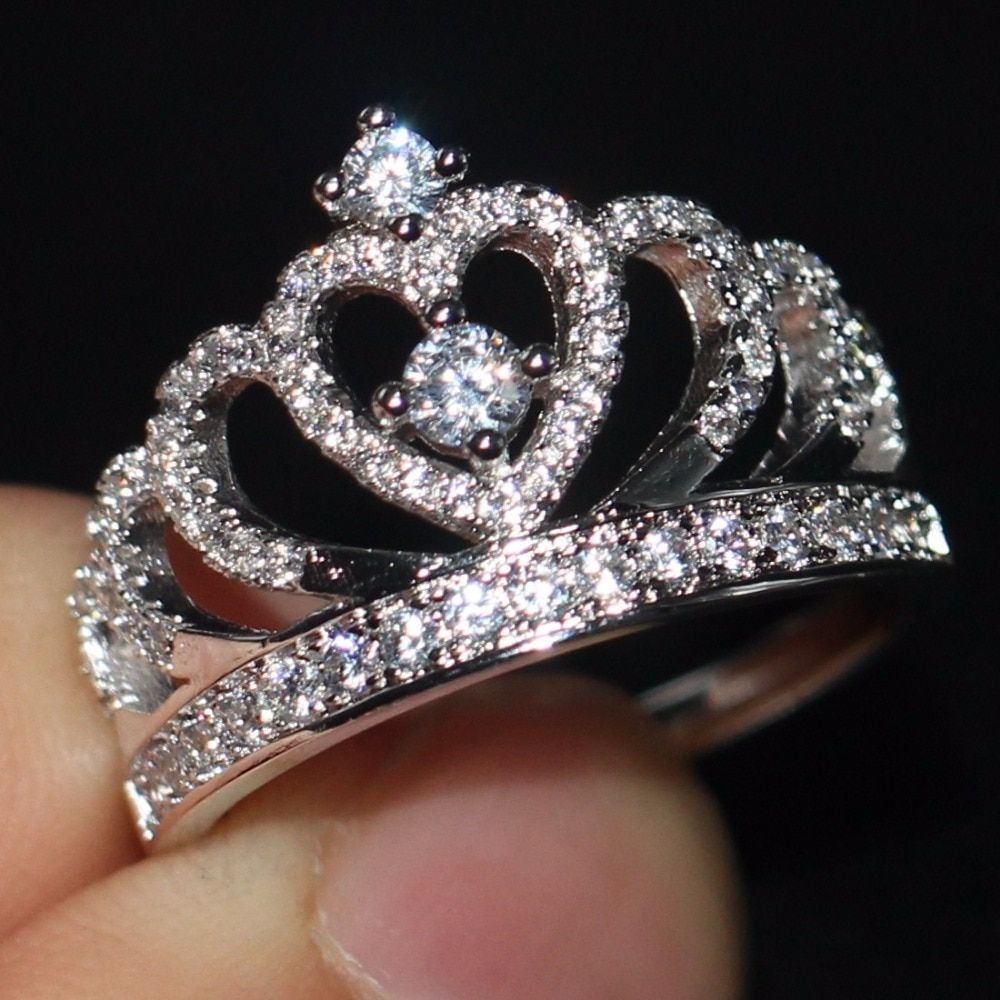2017 New Arrival Women Fashion Jewelry Pave Setting 925 Sterling Silver Female CZ stones Wedding Engagement Crown Ring Size5-11