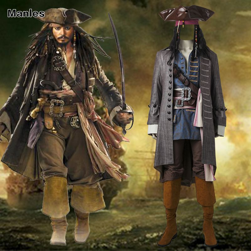 Captain Jack Sparrow Costume Pirates of the Caribbean Cosplay Dead Men Tell No Tales Salazar's Revenge Suit Halloween Adult Men