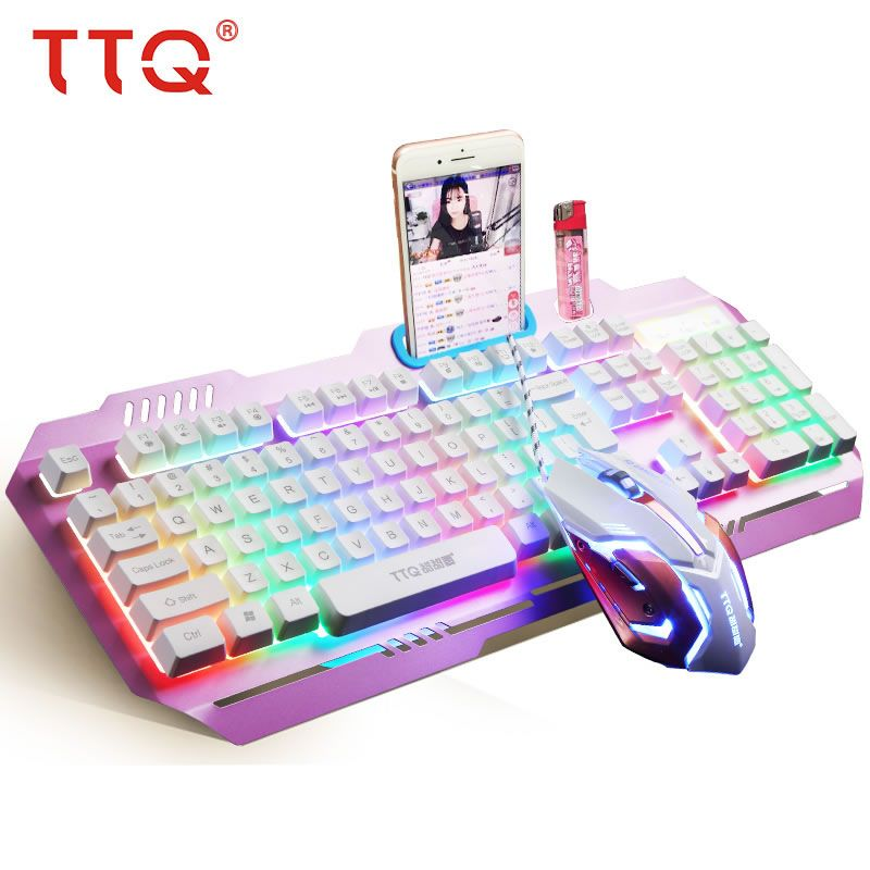 TTQ USB Gaming Clavier Souris Gamer Profesional Ensemble Razer Led gaming souris Mécanique Sentir ensemble clavier filaire 2000 DPI gamer ensemble