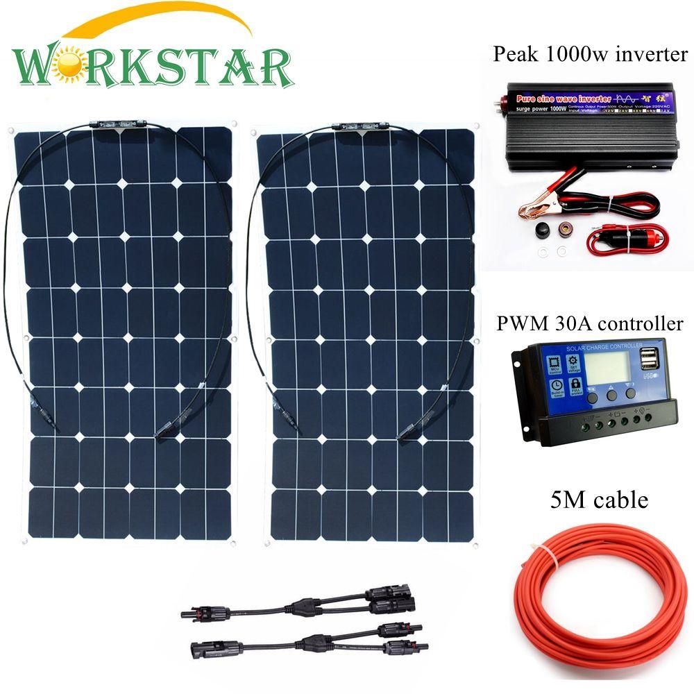 2*100 W Sunpower Flexible Solar Panels mit 30A Controller und 100 0 watt Inverter 200 watt solar System kit für Anfänger für RV/boot