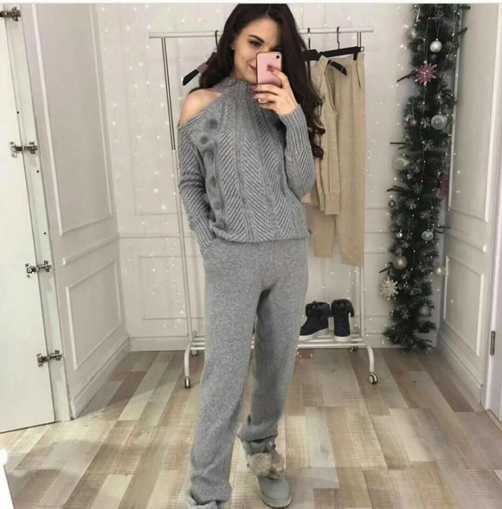 2018 Woolen and Cashmere Knitted warm Suit High Collar Strapless Knit Sweater + Mink Cashmere Trousers Leisure Two-piece wj1729