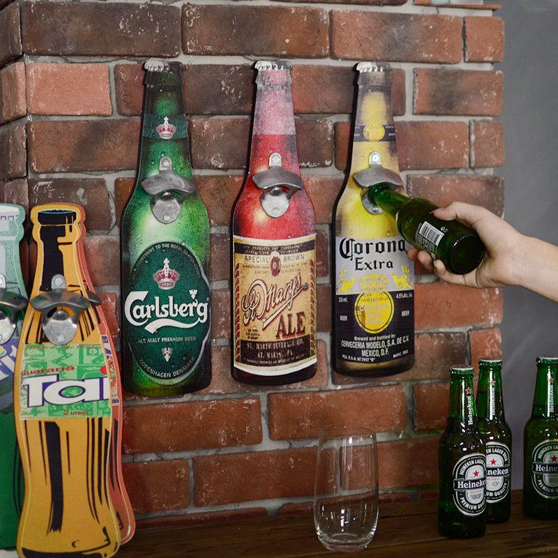 Américain Eroupean Style Vintage bière en forme décapsuleur mural ouvre-bouteille mural ouvre-bouteille mural Plaques en bois Cap attrape-bouchon