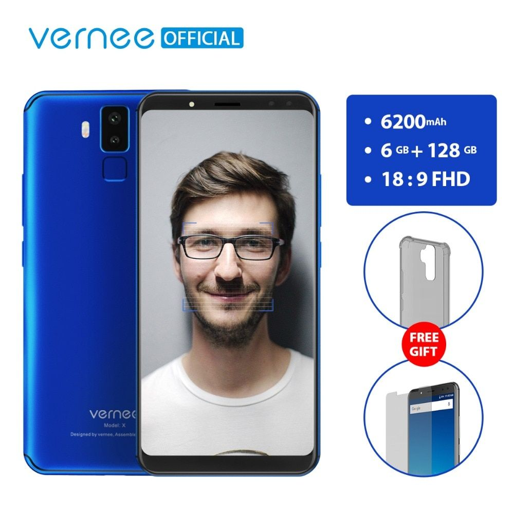 Vernee X 6GB RAM <font><b>128GB</b></font> ROM Smartphone Face ID Android 7.1 Octa Core 6.0 inch 18:9 FHD 2160x1080P Four Cameras 6200mAh Phone