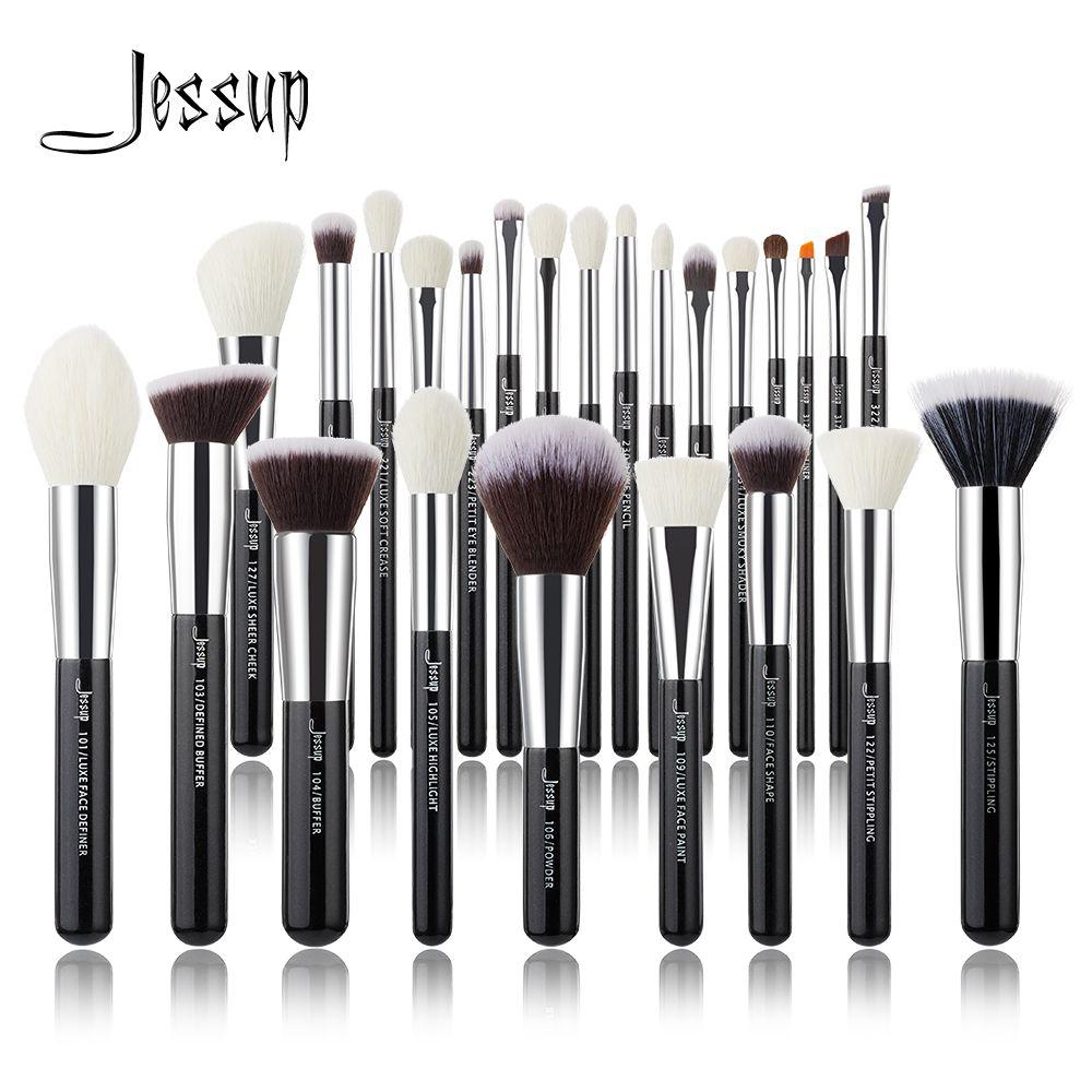 Jessup noir/argent pinceaux de maquillage set professionnel avec fond de teint cheveux naturels poudre fard à paupières maquillage pinceau Blush 6 pièces-25 pièces