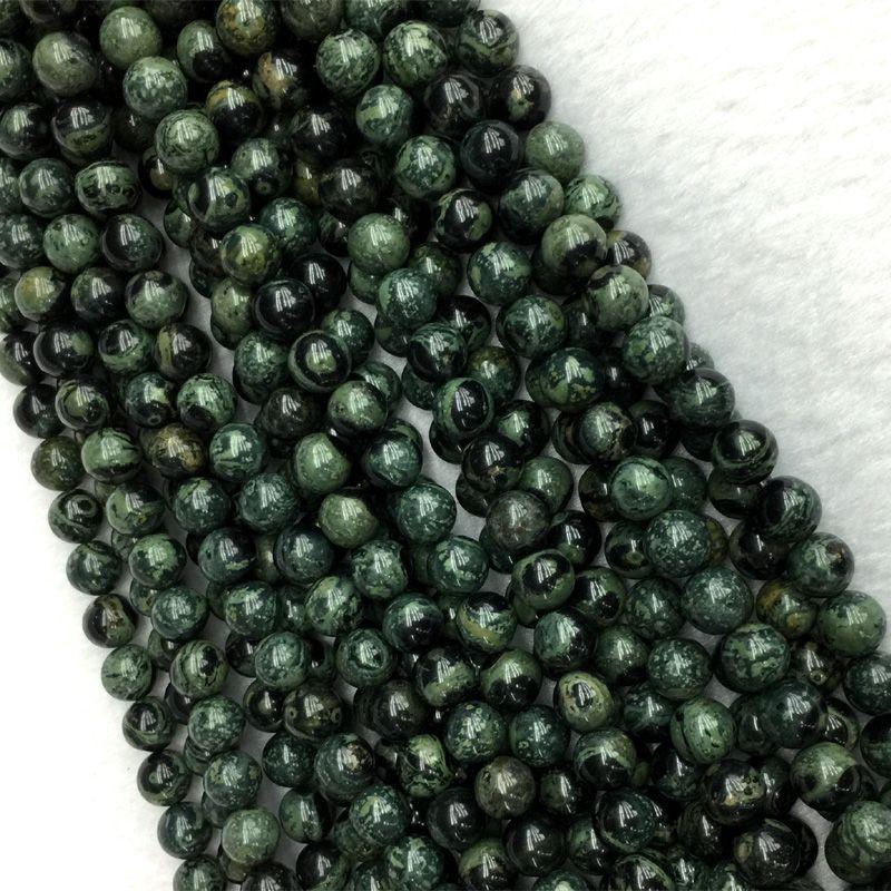 Natural Genuine Dark Green Kambaba Jasper Round Jewellery Loose Small Ball Beads 6mm 8mm 10mm 12mm 15