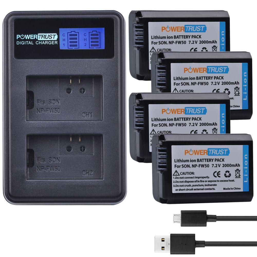 4Pcs NP-FW50 NP FW50 NPFW50 Batterien + LCD USB Dual Ladegerät für Sony Alpha a6500 a6300 a7 7R a7R a7R II a7II NEX-3 NEX-3N NEX-5
