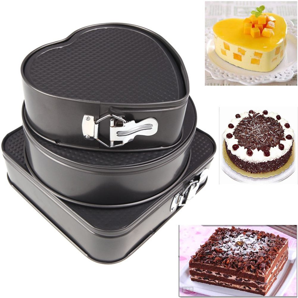3Pcs/set Round Square Heart Shaped Cake Baking Pan Non Stick Metal Oven Baking Trays Cake Mold Bakeware Cake Tools