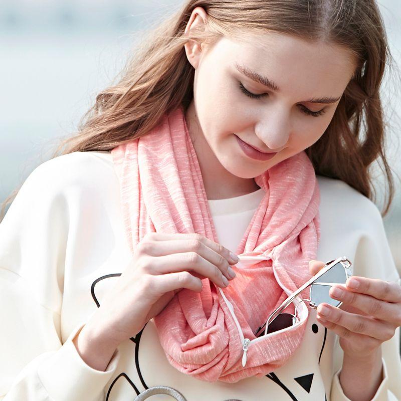 Genovega бренд осень-зима теплый шарф бесконечности универсальные модные женские туфли кольцо Шарфы для женщин однотонные мягкие карман петли ...