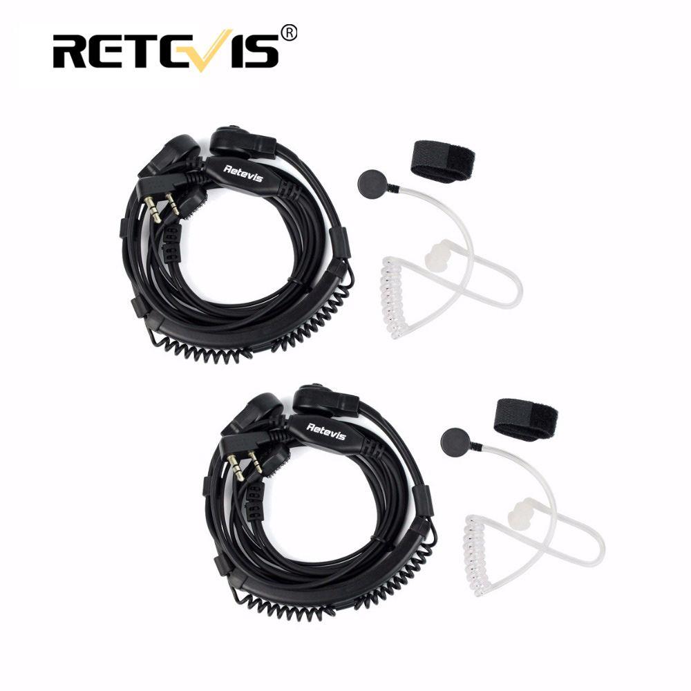 2pcs Flexible Throat Mic Headset Walkie Talkie PTT Earpiece For Kenwood Baofeng UV-5R UV-82 Retevis H777 RT-5R RT22 RT3 RT81 RT7