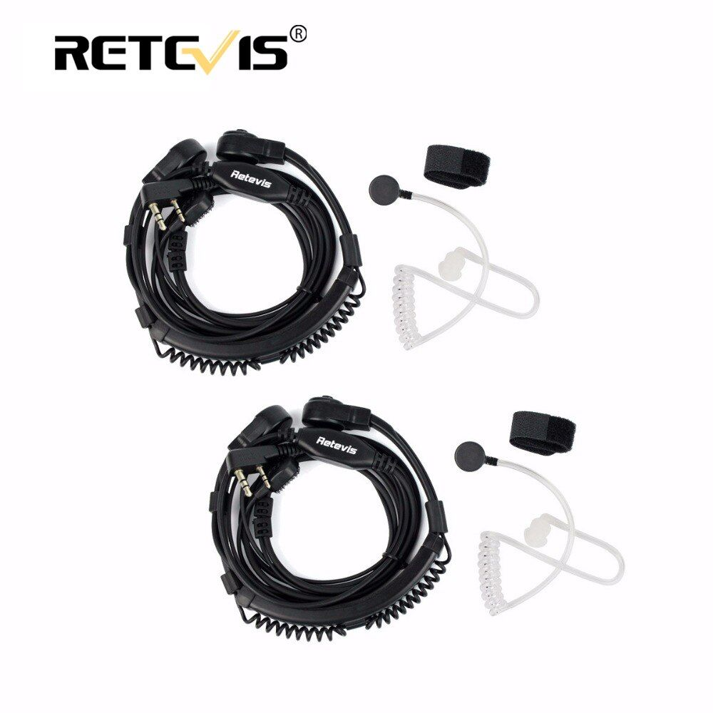 2pcs Throat Microphone Telescopic Headset Walkie Talkie 2Pin PTT  Earpiece For Kenwood Baofeng UV-5R Bf-888S UV-82 Retevis H777