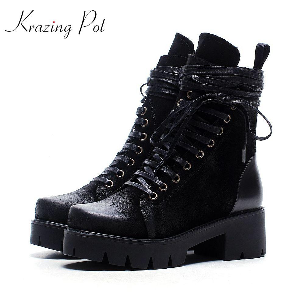 Krazing Pot cow suede lace up rivets boots women round toe handsome platform square heels solid women cowboy Winter boots L0f3