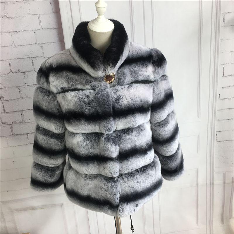Real Rex Rabbit Fur Coat Color Chinchilla with stand collar short-medium Genuine fur coat jacket