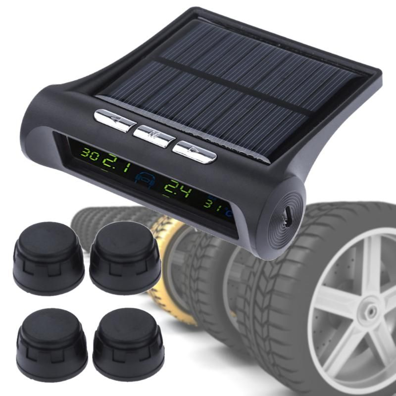 LCD Solar Power Car Tire Pressure Monitor System Wireless TPMS Auto External Smart Wheel Tyre Air Pressure Monitor with 4 Sensor