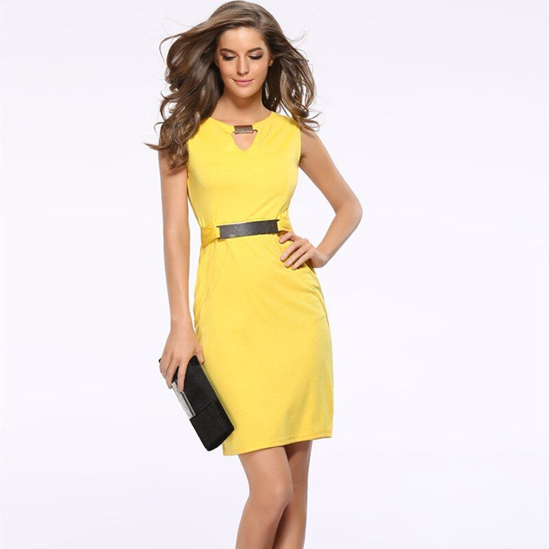 Femmes robe d'été 2018 nouvelle mode évider sans manches robe crayon genou longueur femmes robes décontractées jaune rouge bleu noir