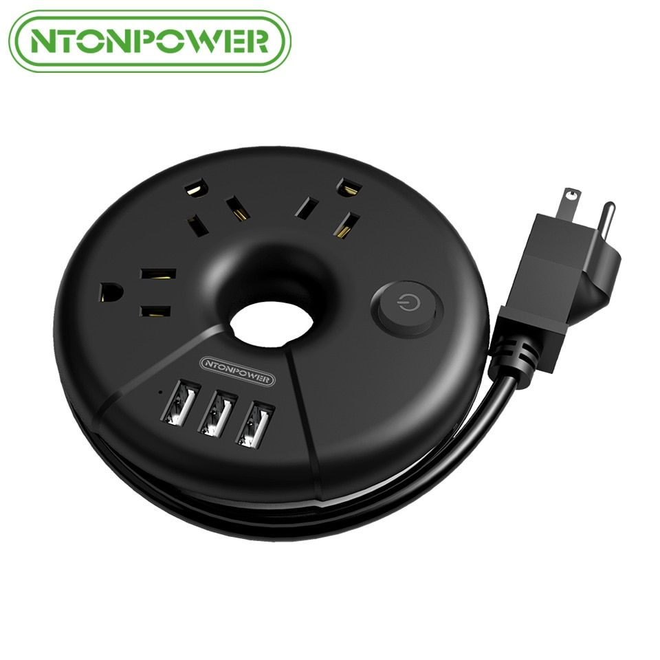 NTONPOWER ODR petite prise de courant USB de voyage prise US Protection contre les surcharges prise 3AC avec 3 Port de charge USB intelligent